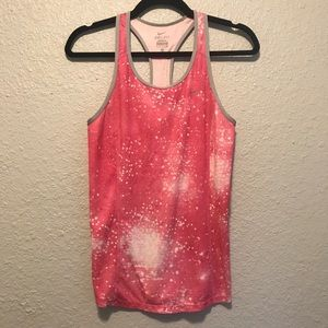 Nike Dry Fit Pink and White Paint Splattered Tank